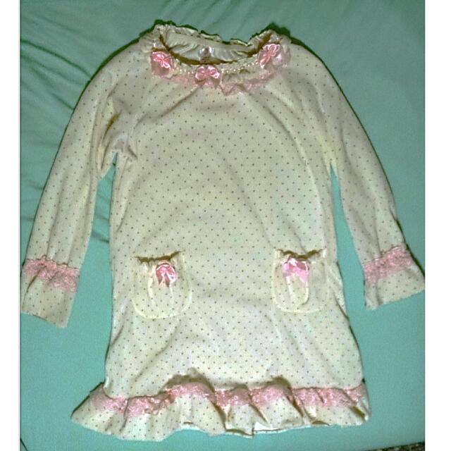 冬季點點蝴蝶結蕾絲睡衣