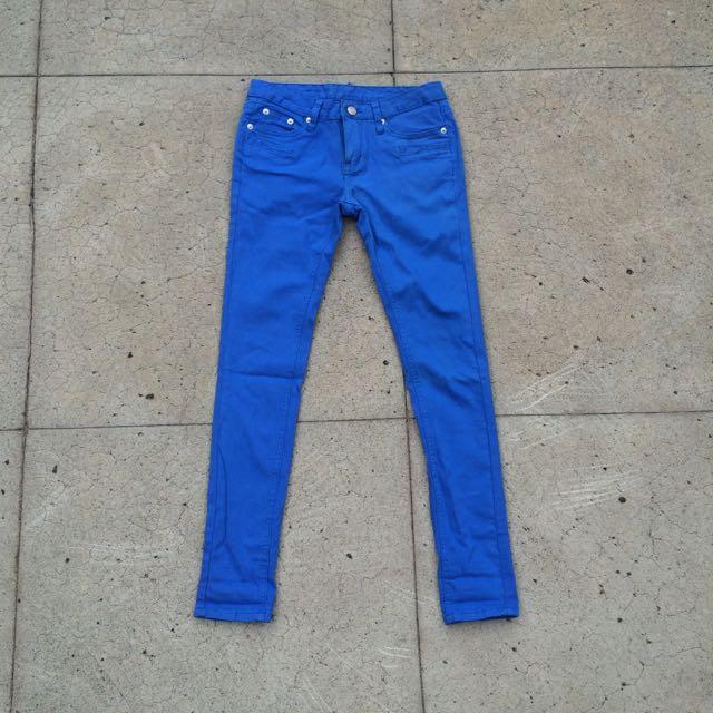 韓版顯瘦寶藍九分褲