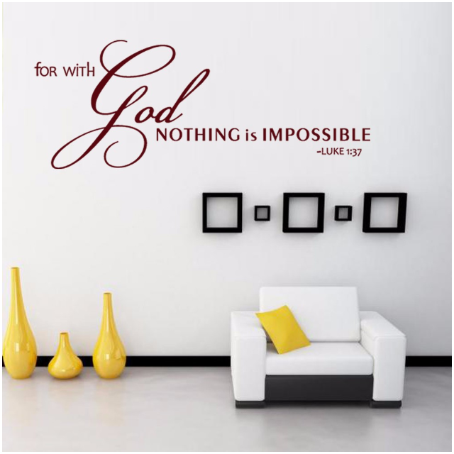 for with god nothing is impossible scripture quality vinyl decal
