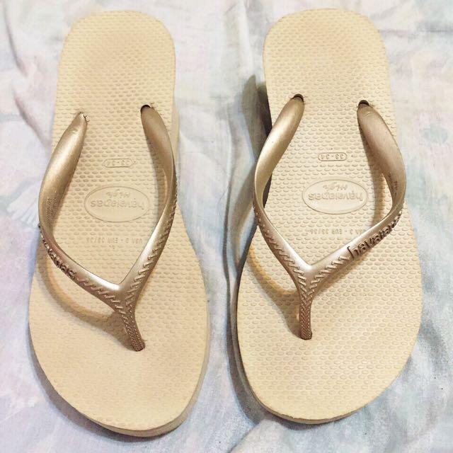 正品 havaianas 哈瓦仕  哈瓦士 High Fashion 厚底6公分 金色 33/34(23/23.5)夾腳拖 人字拖 鞋