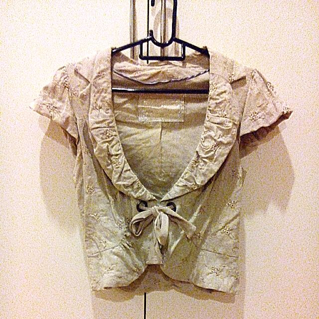 Linen Embroidery Cropped Jacket