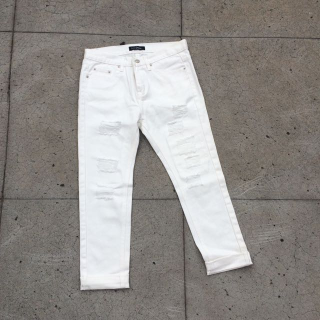 Queen Shop顯瘦男友刷破褲白色