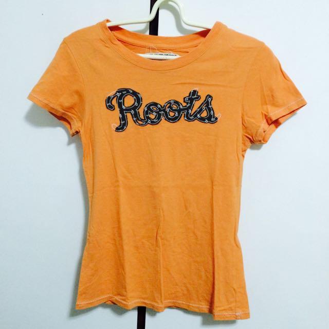 Roots 橘色短T