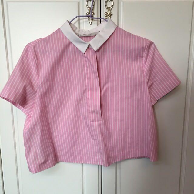 Zara粉色條紋上衣