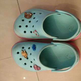 Blue and Pink Crocs Shoe