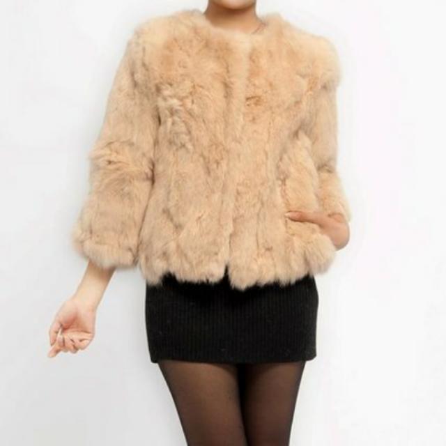 100%兔毛 七分袖外套 兔毛外套 米白色 全新拍賣
