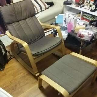IKEA POANG ROCKING CHAIR WITH FOOT REST