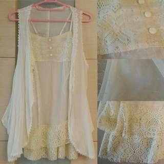 全新 日系maison conee專櫃正品 甜美性感兩件套蕾絲紗洋裝 襯裙+修身顯瘦罩衫