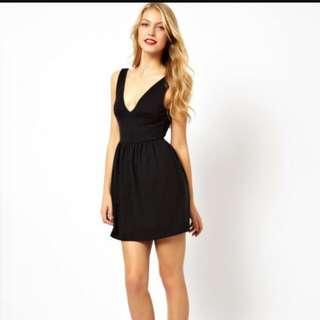 Low V-Neck Black Dress
