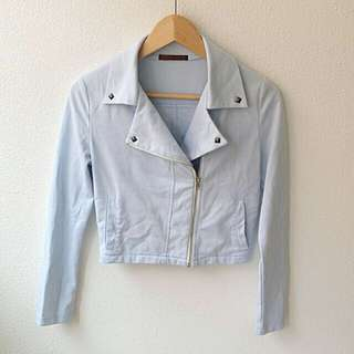 Moto Jacket In Sky Blue With Studs