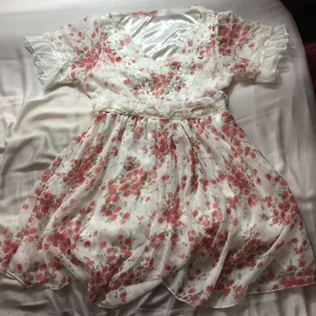 全新小公主雪紡刺繡蕾絲洋裝