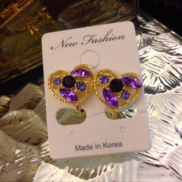 紫色寶石愛心夾式耳環