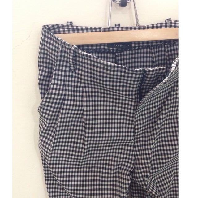 黑白格紋 老爺褲
