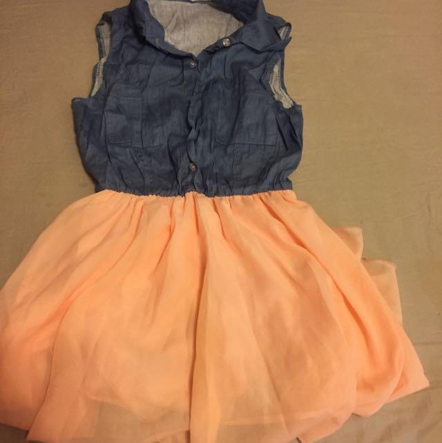 橘粉色雪紡裙 前短後長