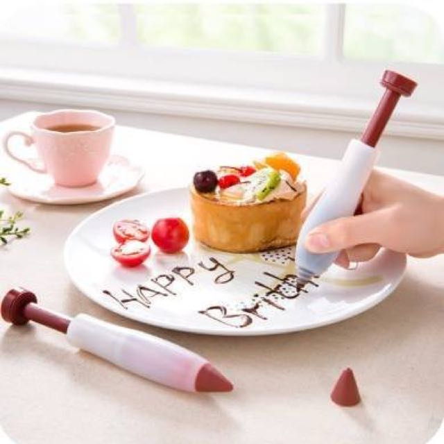 黑蜜馬◕‿◕預購 矽膠巧克力筆 裝飾擠醬 紫菜包飯飯糰裱花 蛋糕寫字筆 食品 烘培 餅乾西點 擠花拉花