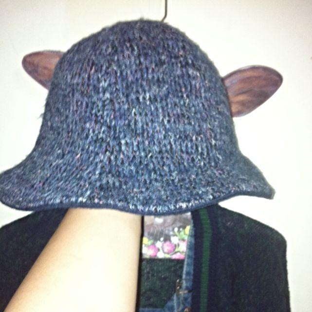 保留中 降噢↘️全新new  深藍紫針織漁夫帽🐟 超美