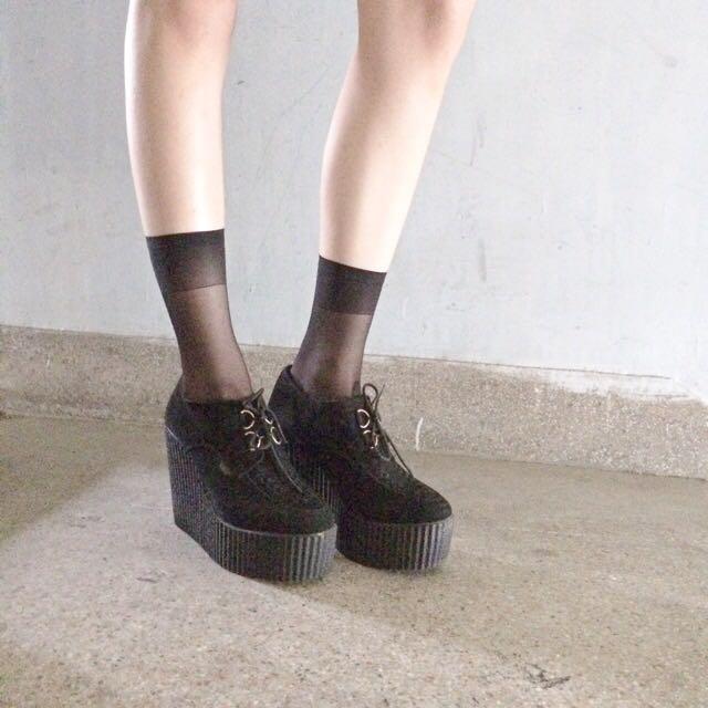 正品 Underground 麂皮楔型鞋