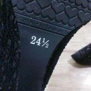 【高跟 楔形鞋】黑色 亮粉