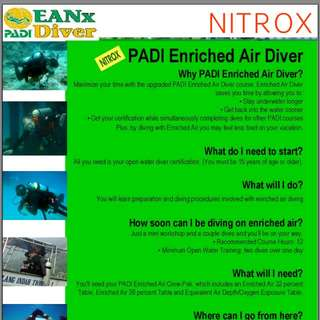 PADI ENRICHED AIR NITROX (EANx) SPECIALTY DIVER COURSE  2 DAYS 2 NIGHTS TIOMAN ISLAND