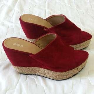 Red Peep Toe Wedges