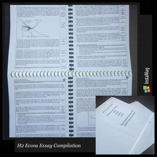TJC H2 Econs Model Essay Booklets