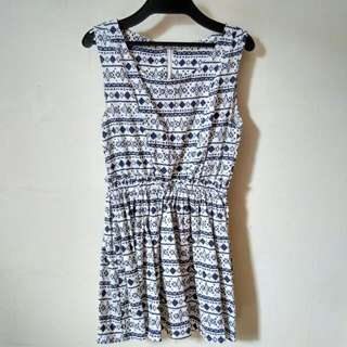 White X Navy Blue Tribal Print Dress