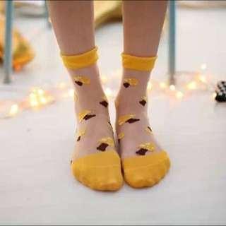 玻璃印花短襪[菇菇]