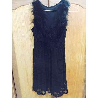 黑色深v羽毛蕾絲洋裝