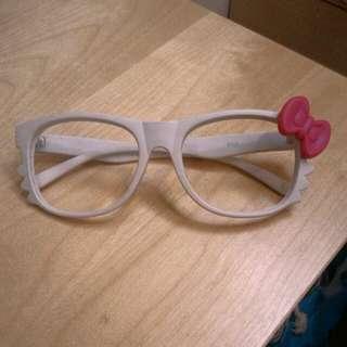 二手 可愛Hello Kitty眼鏡/鏡框 白色