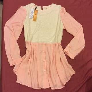 全新吊牌未拆上海購回 米色針織配粉色雪紡紗長袖垂墜中長版襯衫 M號
