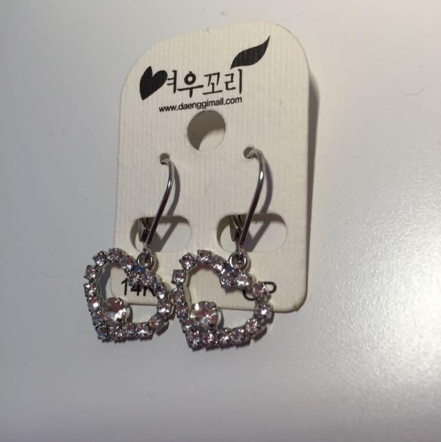 韓國心型垂吊式耳環