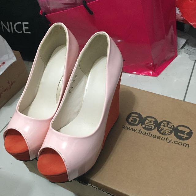小腳兒✨全新白鳥麗子 漆皮厚底鞋