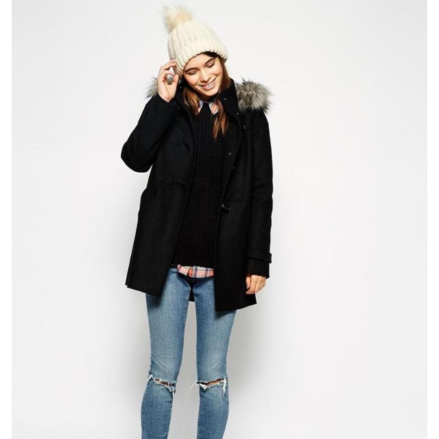 ASOS Duffle Coat with Clean Detail Faux Fur Hood UK6