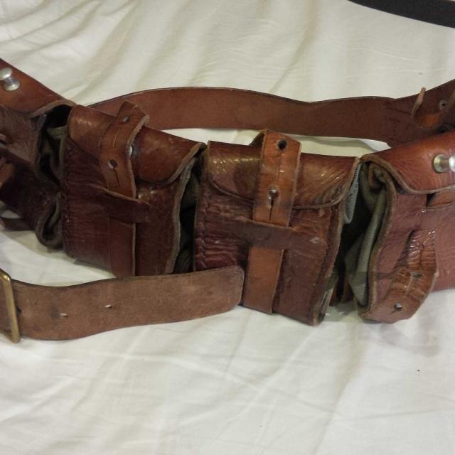 Vintage Military Surplus Swedish M1910 Leather Ammo Belt WW1/WW2