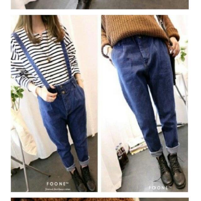 《待匯款》韓版寬鬆單寧牛仔吊帶(可拆)哈倫褲(XL)