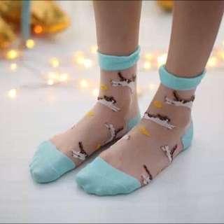 玻璃印花短襪[喵咪]