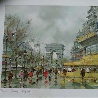 Matte Painting From Paris, France. 45cm X 36cm