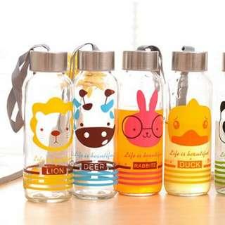 可愛動物玻璃水瓶 300ml