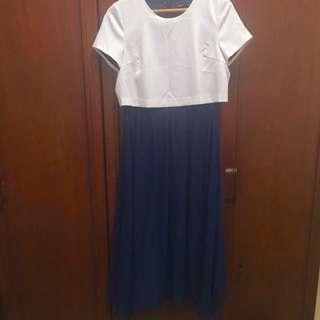 MOMA深藍雪紡長洋裝