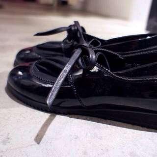 漆皮拼小羊皮 抓皺蝴蝶結綁帶 變化牛津鞋皮鞋