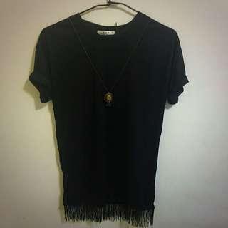 黑色長版流蘇短袖T恤