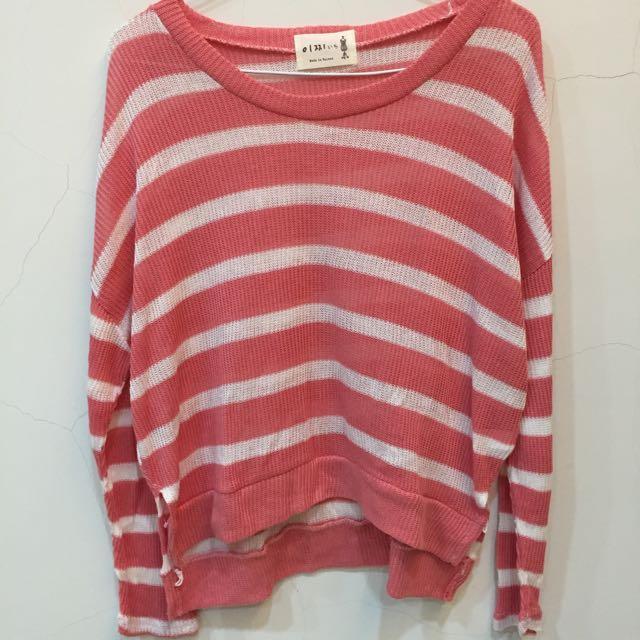 粉紅橫條紋針織毛衣