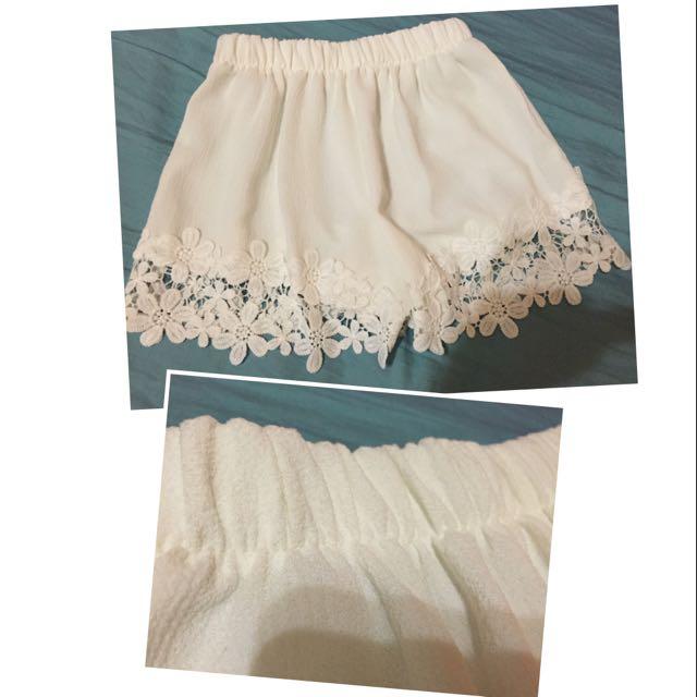 (全新)🆕白色花邊短褲