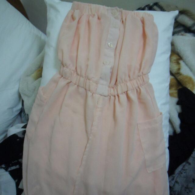 平口氣質洋裝粉橘色雪紡紗材質