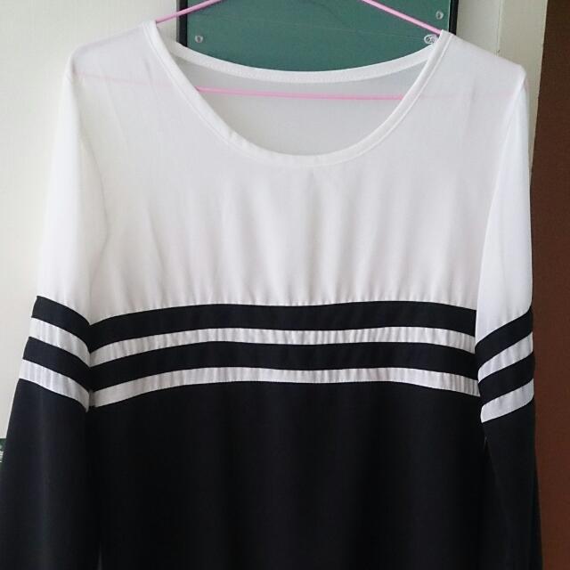 黑白長版上衣