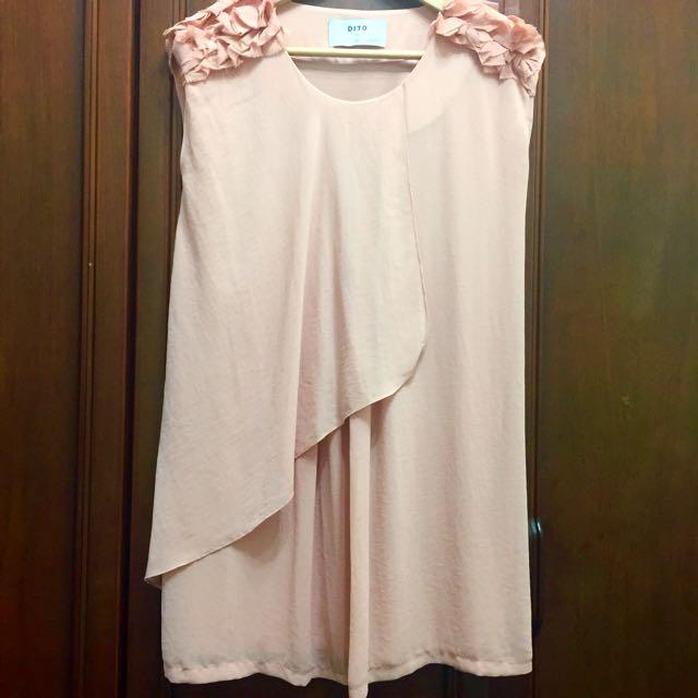 正韓粉藕色雪紡洋裝