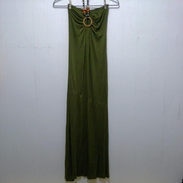 【九成新/實穿照】二手公益*墨綠繞頸平口長裙