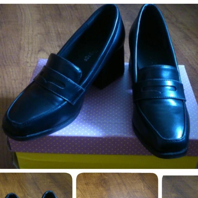 黑色 粗跟 皮鞋/二手