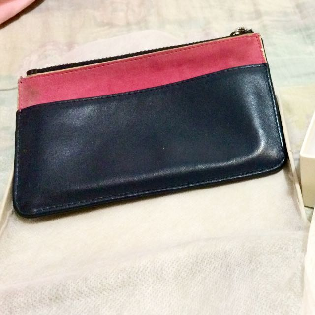 降價!正品 agnes b. 二手桃紅麂皮 真皮深藍 零錢包 鑰匙包