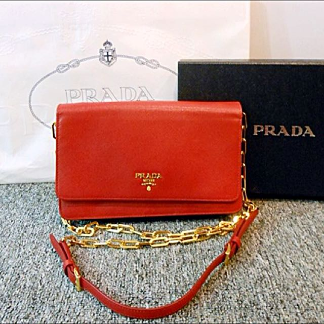 1aff8a2e877d ... usa authentic prada 1m1405 saffiano metal chain wallet fuoco red luxury  on carousell 9d8b7 1c2b6 ...